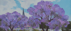 Jacarandas, Stellenbosch | 2019 | Oil on Canvas | 34 x 60 cm