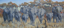 Elephants - Kruger Park | 2013 | Oil on Canvas | 40 X 80 cm